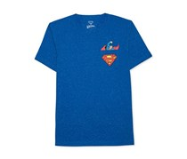 Superman Men's Graphic-Print  T-Shirt, Blue Speckle