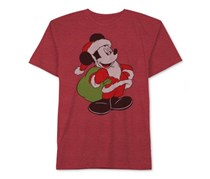 Disney Mickey Mouse Santa Mickey T-Shirt, Red