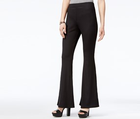 Material Girl Juniors' Ribbed Flare-Leg Pants, Caviar Black