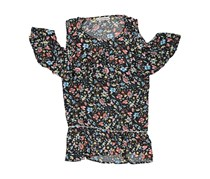 Moral Fiber Ladies Woven Cold Shoulder Ruffle Blouse, Spring Floral