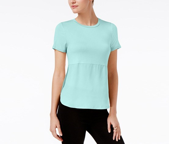 Short-Sleeve Contrast Top, Aqua Whisper