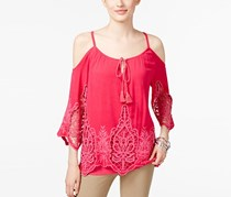 INC Cold-Shoulder Peasant Top, Intense Pink