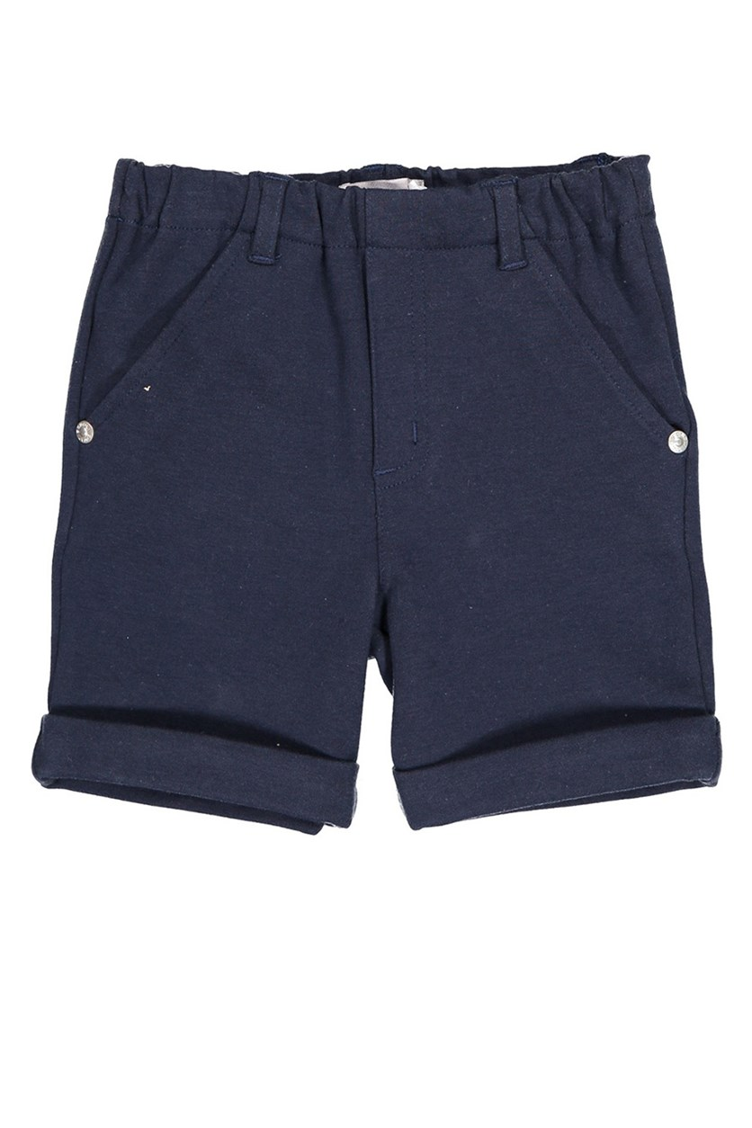 Little Girls Knit Shorts, Navy