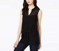 Bar III Tie-Front Illusion Top, Deep Black