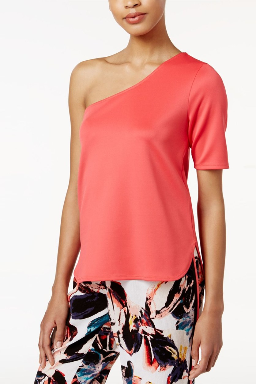 One-Shoulder Scuba Top, Peony Coral
