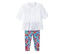 Ralph Lauren Baby Girls' 2-Piece Top And Floral Leggings Set, White/Blue