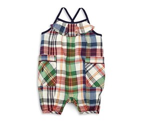Ralph Lauren Madras Plaid Cotton Romper, White Combo