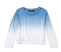 Little Girls Ombre Drapey Top, Blue