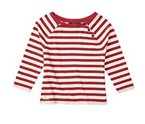Girls' Striped Knit Top, Red