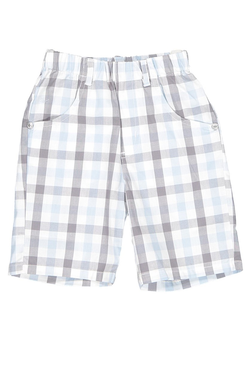 Toddler's Poplin Plaid Short, Blue/Grey