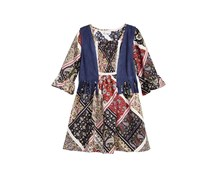 Sweet Heart Rose 2-Pc. A-line Dress & Fringe Vest Set, Navy Combo