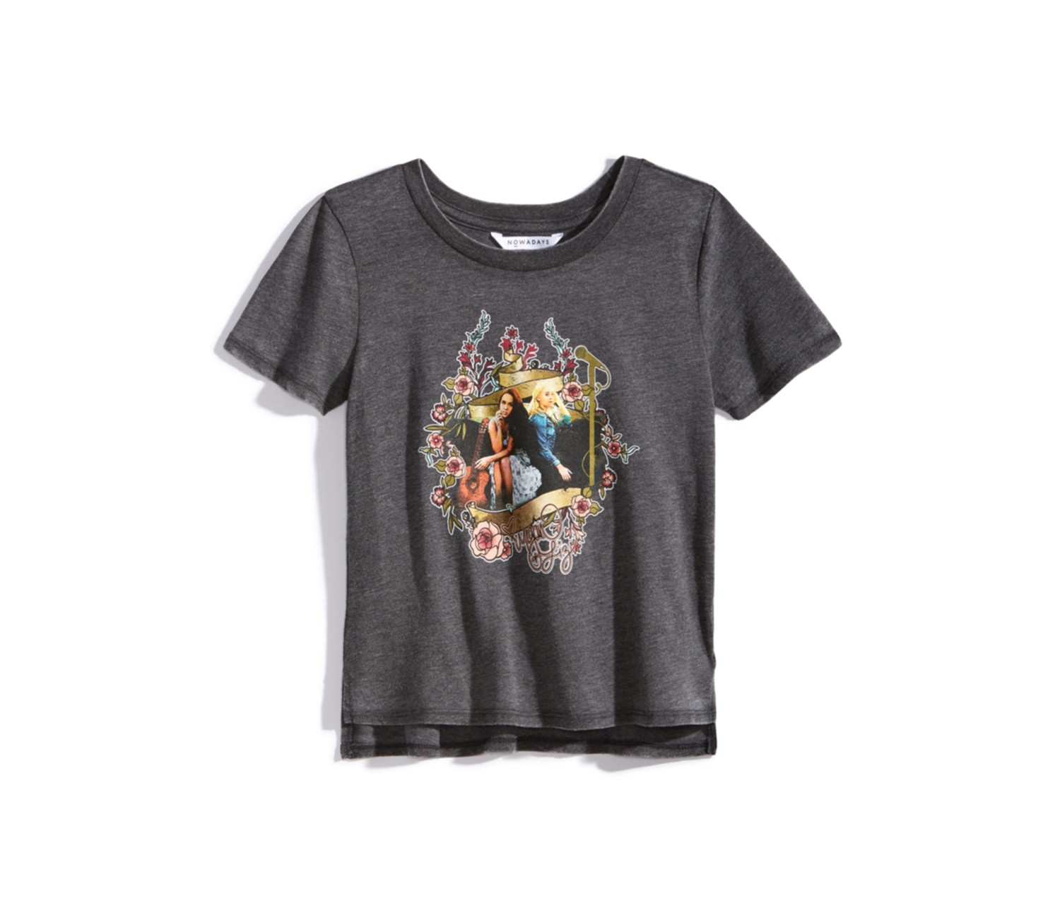 Nowadays Graphic T-Shirt Big Girl, Charcoal Grey