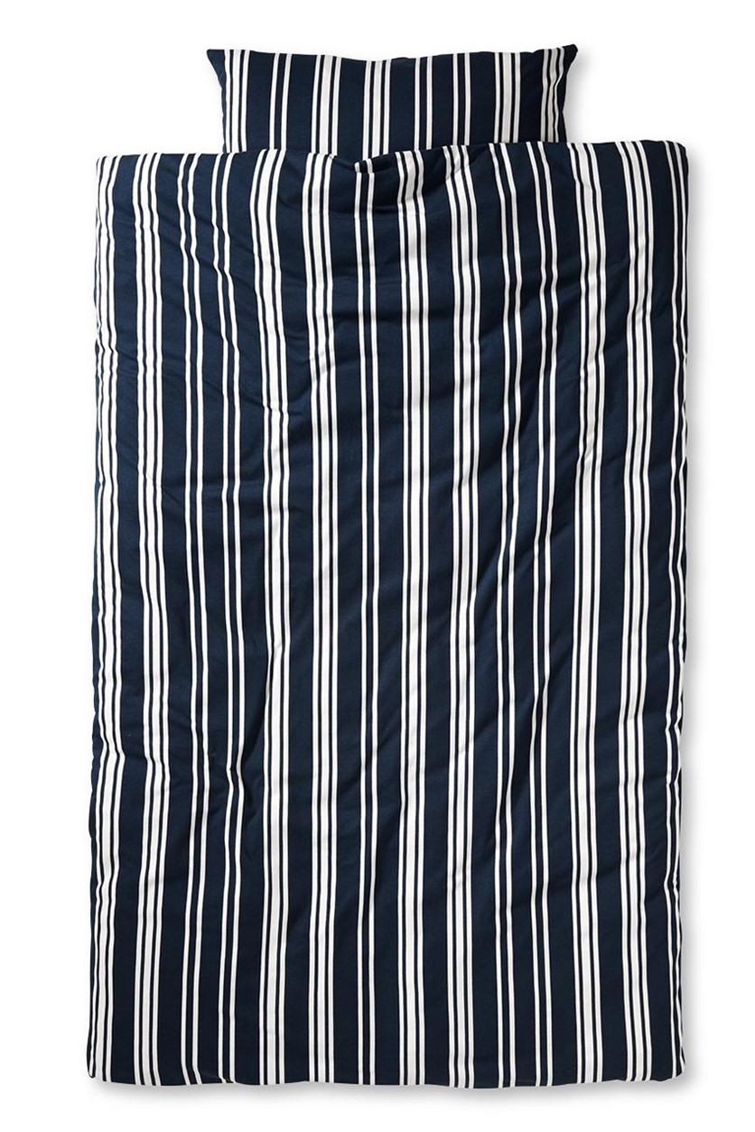 Jersey Duvet Set, Navy Blue/White