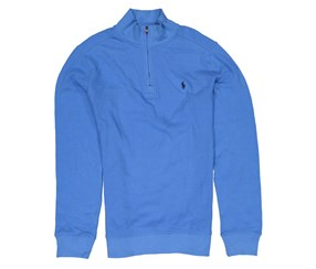 Ralph Lauren Boys Waffle-Knit Half-Zip Pullover Sweater, Rivera Blue