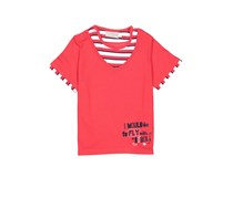 Boboli Baby Girl Graphic Knit Combined T-Shirt, Red