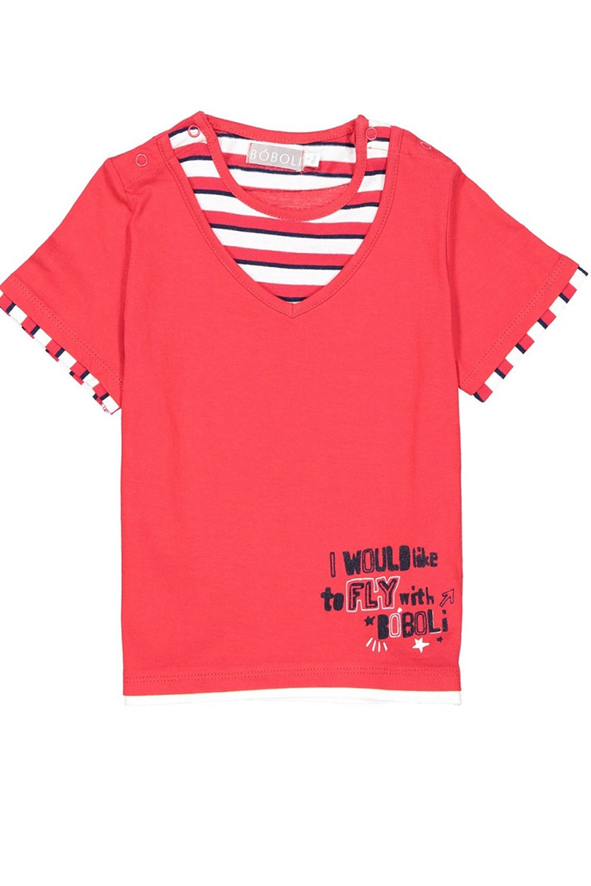 Baby Girl Graphic Knit Combined T-Shirt, Red