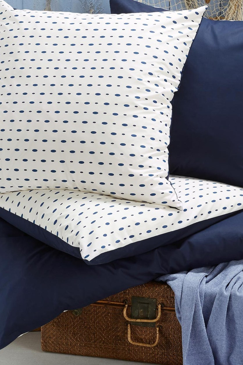 Percale Duvet Set, 160 x 210 cm, White/Navy dots