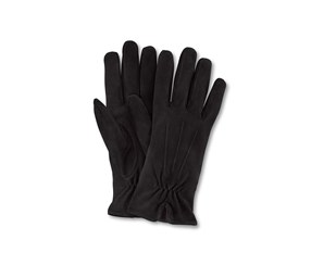 Women Velor Leather Gloves, Black