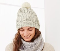 Women Knitted Beret, Off White