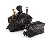 Women Two Cosmetic Bags, Black