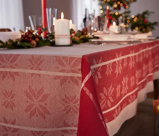 Tablecloth with Jacquard, Red/Cream