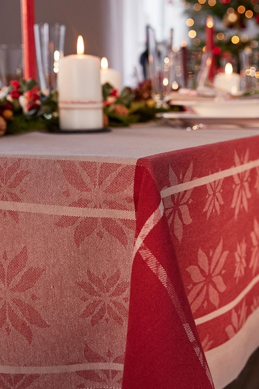 Jacquard Tablecloth, Cream/Red