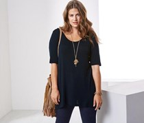 Women Long T-shirt, Navy Blue