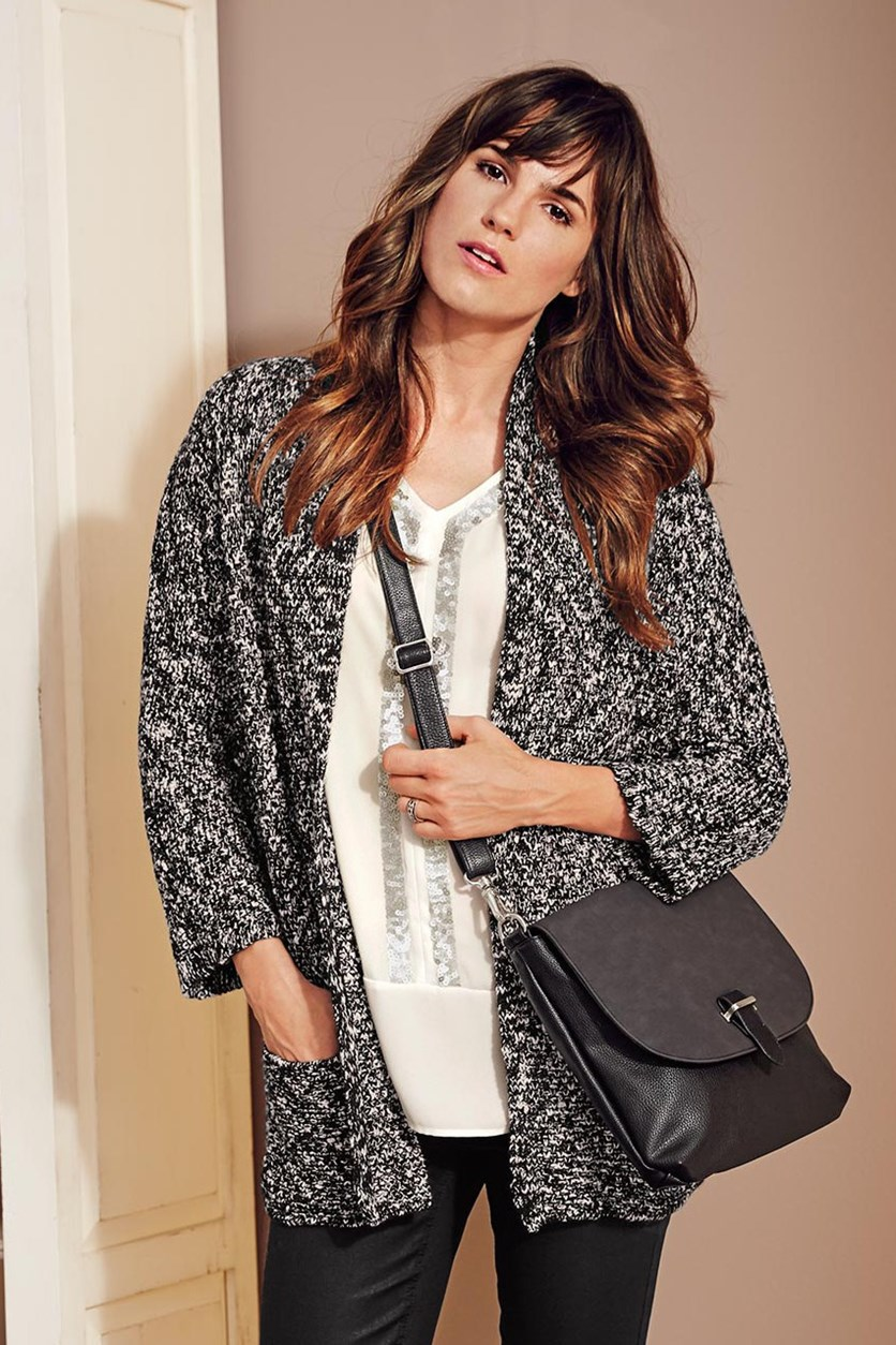 Women Long Cardigan, Black/White