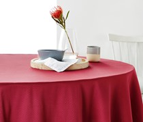 Tablecloth with Jacquard, Oval, Red