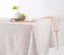 Tablecloth with Jacquard, Gray/Beige