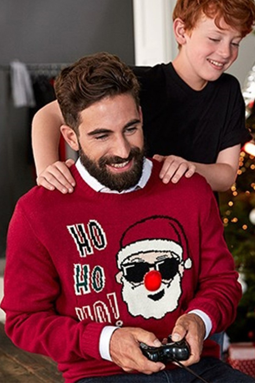 Men Patterned Knitted Sweater, Red