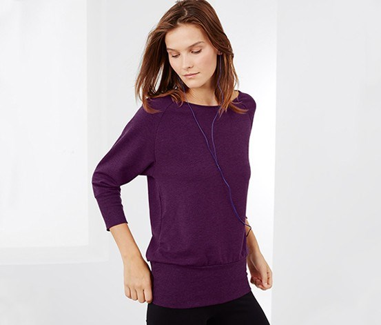 Women Sweatshirt with Batwing Sleeves, Purple