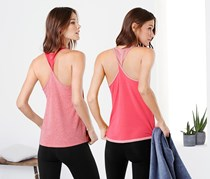 Women  Yoga Top, Reversible Top, Coral/Pink