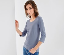 Women Quarter Sleeves Top, Blue