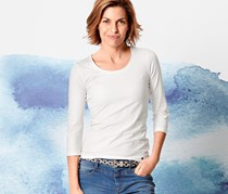 Women Shirt with 3/4 Sleeves, White