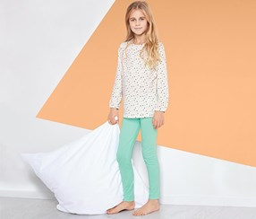 Girls Pajama Set, White/Mint