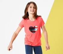 Kids T-Shirt with Reversing Sequins, Coral