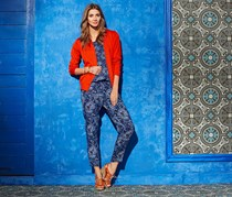 Women's Printed Woven Trouser, Blue Combo