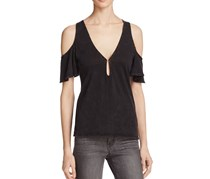 Project Social T. Jet Stream Cotton Cold-Shoulder Top, Black