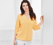 Women's Blouse Shirt, Yellow/Offwhite