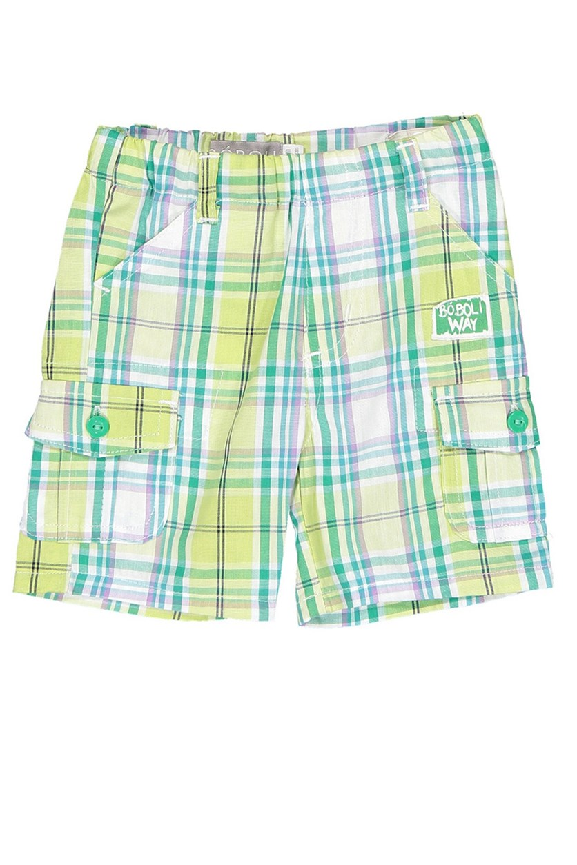 Toddler's Poplin Checkered Short, Green
