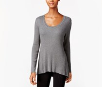 Style & Co. Long-Sleeve Scoop-Neck Sweater, Steel Grey