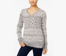 Style Co. Petite Fair Isle Eyelash Sweat, Grey