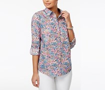 Charter Club Cotton Roll-Tab Floral-Print Shirt, Intrepid Blue Floral Combo