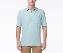 Tasso Elba Silk-Blend Crosshatch Shirt, Aqua Crystal