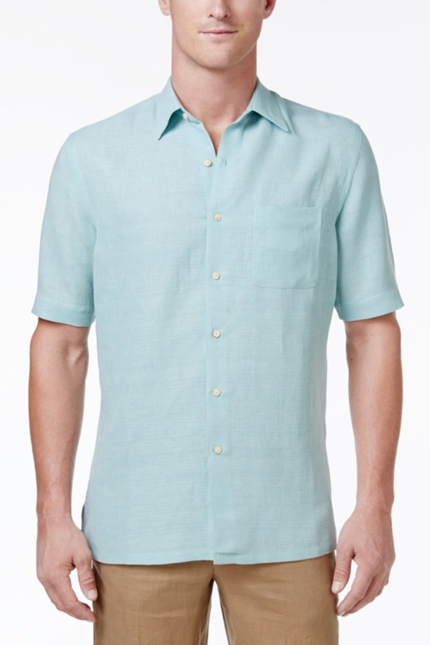 Silk-Blend Crosshatch Shirt, Aqua Crystal