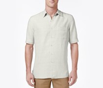Tasso Elba Men's Silk-Blend Crosshatch Shirt, Silverbirch