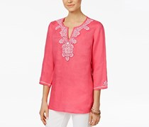 Charter Club Petite Embellished Embroidered Top, Glamour Pink
