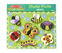 Melissa & Doug Insects Wooden Chunky Puzzle, Green