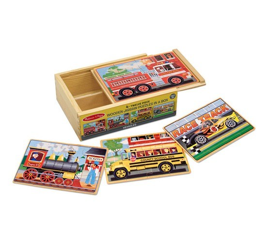 Wooden Jigsaw Puzzles In A Box - Vehicles